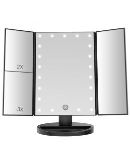 Козметично огледало с LED осветление, Черно - Bestope