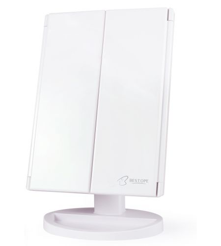 Козметично огледало с LED осветление, Бяло - Bestope