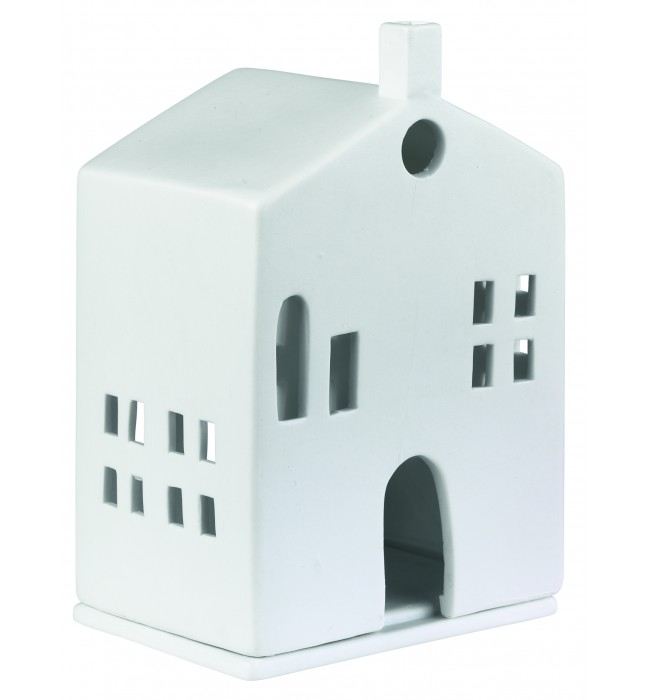 Порцеланова светеща къщичка с обла врата