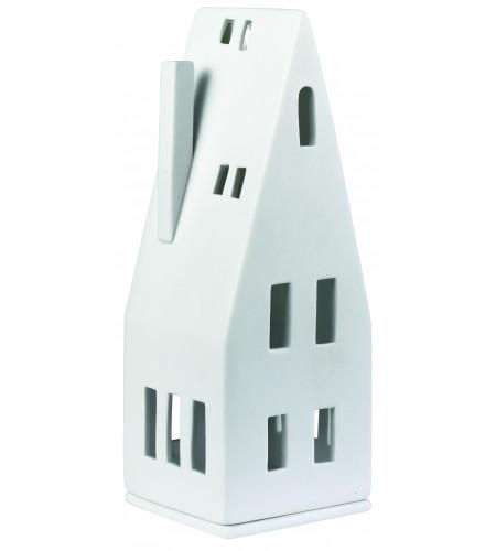 Порцеланова светеща къщичка с остър покрив