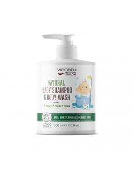 Натурален бебешки шампоан за коса и тяло (без аромат) WOODEN SPOON 300 мл.
