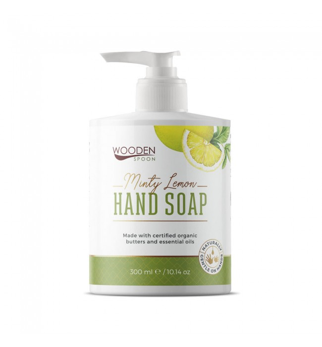 Натурален течен сапун Ментов Лимон WOODEN SPOON 300 мл.